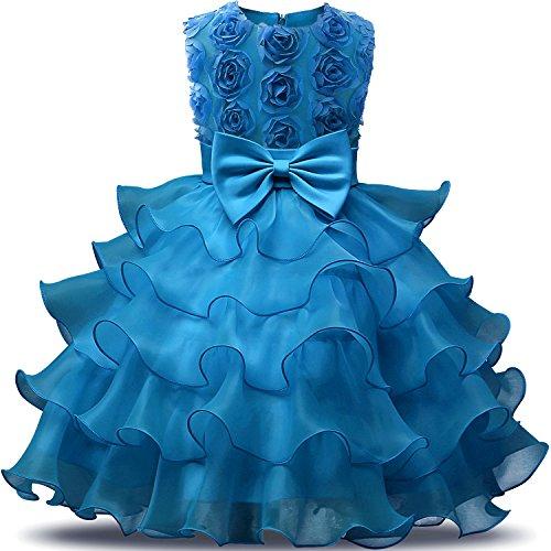 NNJXD Mädchen Kleid Kinder Rüschen Spitze Party Brautkleider Größe(130) 5-6 Jahre Blumen Blau