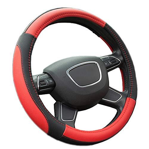 Finoki Auto Universal Anti Rutsch Atmungsaktive Lenkradhülle Lenkradbezug Lenkradschoner aus Mikrofaser-Leder (36-38cm)(Rot)