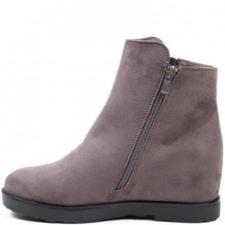 Ideal Shoes - Bottines compensées effet daim avec franges Mariella Gris