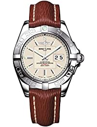 Breitling Galactic 41Herren Automatik Uhr mit Silber Zifferblatt Analog-Anzeige und braunem Lederband a49530l2/G699/221x