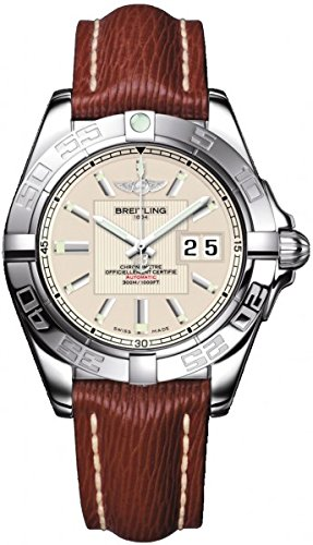 breitling-galactic-41-mens-automatic-watch-with-silver-dial-analogue-display-and-brown-leather-strap