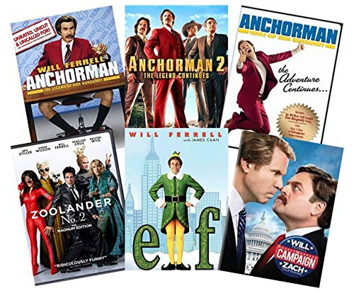 Ultimate Will Ferrell 6-Movie Comedy DVD Collection: Anchorman: Legend of Ron Burgundy / Anchorman 2: The Legend Continues / Wake-Up Ron Burgundy / Zoolander No. 2 / Elf / The Campaign