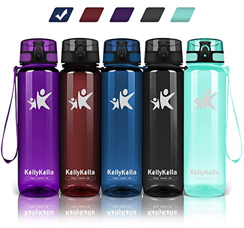 KollyKolla Trinkflasche - BPA-frei Auslaufsicher Sport Wasserflasche, 500ml Tritan Sportflasche Kohlensäure Geeignet Kunststoff mit Filter für Kinder, Schule, Baby, Fahrrad, Gym, Glossy Marine