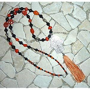 lange Kette FLOWER POWER HIPPIE BOHO IBIZA PEACE – HAMSA HAND – orange & schwarz –
