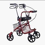 XIHAA Leichter Faltender Rollator-Wanderer des Edelstahls, Höhenverstellbarer Rollator Handbremse Für Behinderte/Ältere Leute Für Das Ältere Einkaufen mit Sitz und Korb (Rot)