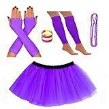 REDSTAR FANCY DRESS Neon Tutu Skirt Leg Warmers Fishnet Gloves Necklace Beads and Neon Wrist Beads (14-22 UK, Purple)