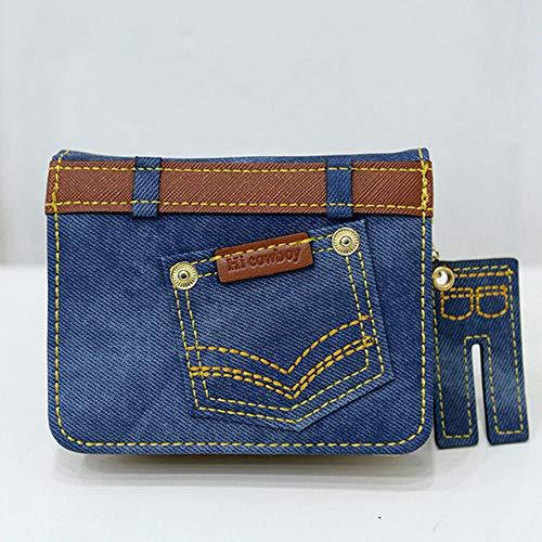 Fyyzg Reißverschluss Brieftasche Denim-Serie Brieftasche Koreanische Persönlichkeit Mädchen Reißverschluss Brieftasche kurzen Studenten - blau kurzen Absatz