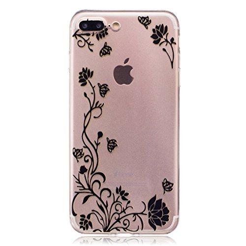 iPhone 7 Plus Hülle, Voguecase Silikon Schutzhülle / Case / Cover / Hülle / TPU Gel Skin für Apple iPhone 7 Plus 5.5(Blumen und Gras/Rote) + Gratis Universal Eingabestift Schmetterling liebt Blumen 06/Schwarz