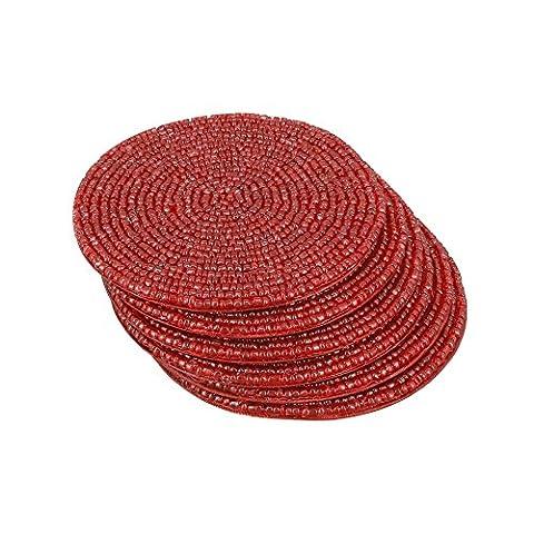 Handmade Indian Rot Perlen Tee Bahnen - 10 cm-Tischsets Für Tassen Tee - Set Von 6 Tasse Bahnen