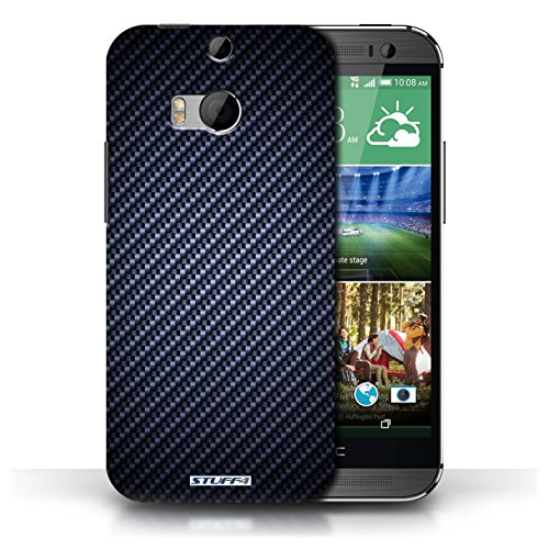 Coque de Stuff4 / Coque pour HTC One/1 M8 / Bleu Design / Motif de Fibre de Carbone Collection Bleu