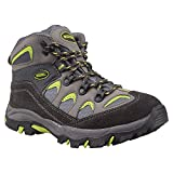Mountain Warehouse Oscar Childrens Boys Girls Suede Durable Hard Outsole Walking Shoes Hiking Boots Lime 3 Child UK