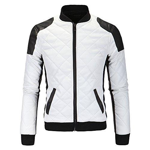 0426bcbed4115 MEI S Les Hommes de Coton d hiver Chaud Veste en Faux Cuir Motard épaissie  Coat