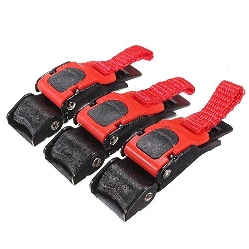 Ziehen Schnalle - TOOGOO(R)3x Kunststoff Motorrad-Sturzhelm Geschwindigkeit Clip Kinnriemen Schnellspanner ziehen Schnalle Neu schwarz + rot -
