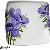 Decornt Appetizer Plate/Snack Plate/Chat Plate/Quarter Plate; Made Of Food-Grade Melamine; Length 7 Inches X Breadth 7 Inches; Square Shape; Set Of 4; White & Purple Color.
