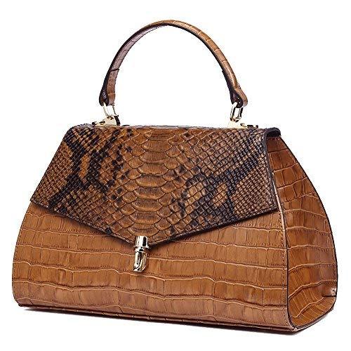 QI WANG Echtes Leder Handtaschen für Frauen Geprägt-Krokodil Rindsleder Top-Griff Taschen Vintage Schulranzen - Krokodil Geprägtes Leder Handtasche