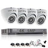 Überwachungskamera-Set mit4Kanälen von HikVision, 5MP, Sicherheitssystem, 4K H.265+4XSony, CHIPSET, TVI, Full-HD, Metallgehäuse, IP66,wasserdicht, Innen- und Außenbereich, Dome-Kameras, 20m, IR, Nachtsicht, P2P, kein HDD, weiß, ds-7204huhi-k1