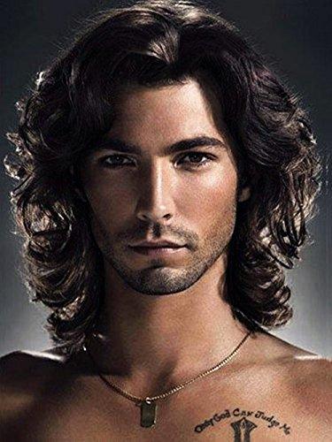 Männer Kurze Lockige Schwarze Perücke Synthetische Hitzebeständige Haar Perücken Natürliche Suchen Perückenfür Party Daily Use UW010