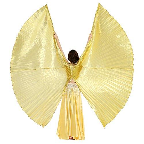 Dance Fairy Öffnungs Ägypten Bauchtanz Isis Flügel Karnevals Kostüme Damen, Gold(mit Stöcke/Stäbe)
