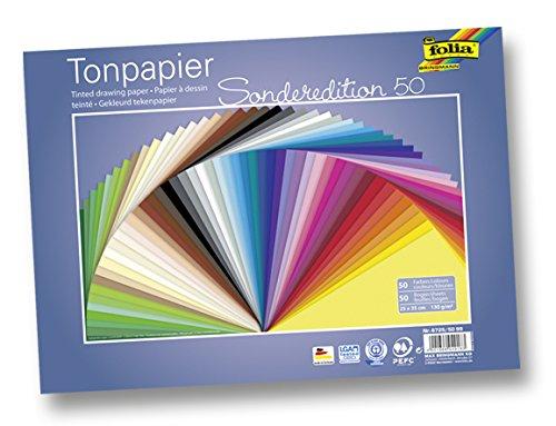 farbkarton folia 6725/50 99 Tonpapier (130 g/m², 25 x 35 cm, 50 Blatt) sortiert
