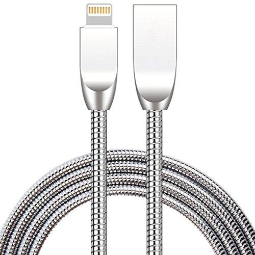LoongGate Metall USB Kabel - 2.4A Schnelllade- und Datenübertragungskabel - Super Durable Fast unzerstörbar - Biegsam und Wetterbeständig - Kompatibel mit iPhone - 1m - Silber - Draht Apple Von Usb-ladegerät Ipad