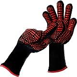 isimsus Grillhandschuhe Ofenhandschuhe, Grillhandschuhe Hitzebeständig bis zu 800℃ mit EN407 Zertifizierte, Kochenhandschuhe Backhandschuhe BBQ Handschuhe für Kochen, Backen, Schweißen, Rot(1 Paar)