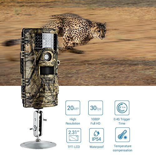 Wildkamera Nachtsicht Wasserdichte 20MP 1080P 30fps 65 Fuß Long Range 42pcs IR LEDs 0,4s Trigger Time Wildlife Versteckte Fotofalle Für Wildlife Animal Scouting Digital Surveillance Long Range Ir