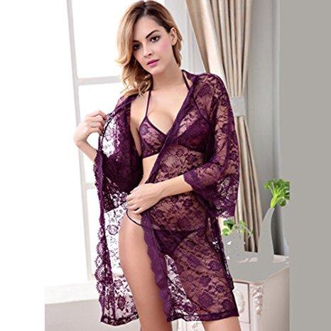 MWPT Damen Unterwäsche Spitze Robe Bademantel und BH Set Sexy Dessous Violett