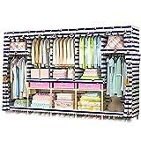 XIAONUA Tragbarer Kleiderschrank Kleiderschrank, Schrank Aufbewahrungsbox Organizer Hängen, Stoff Kleiderschrank Regale Mit 3 Schubladen, Reißverschluss,B_82.6x17.7x66.9 in