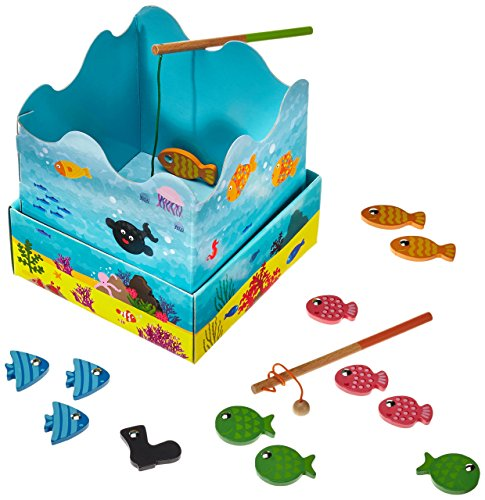 Magnetic Fishing Game with Wooden Fish. A simple game for the family that many of us played back in the day.
