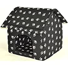 nanook große Hunde-Höhle, Hunde-Haus CHALET, Größe XXL (74 x 73 cm), Schwarz mit Pfötchen