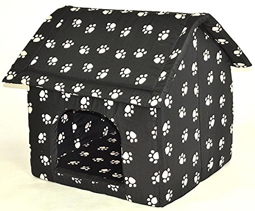 hundeinfo24.de nanook große Hunde-Höhle, Hunde-Haus CHALET, Größe XXL (74 x 73 cm), Schwarz mit Pfötchen