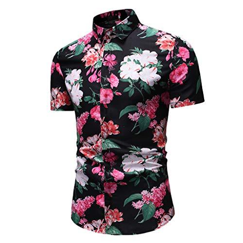 REALIKE Herren Hawaiihemd 3D Gedruckt Blumen Muster Kurzarm T-Shirts Sommer-Beiläufige Kurze mit Button Down Graphic Hemden T-Stücke Freizeit Oversize Basic Hemd Tops Bluse