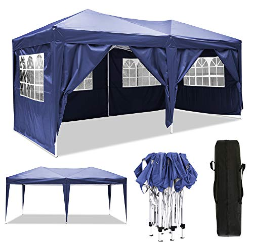 3x3m/3x6m Faltpavillon, Pavillon, wasserdicht gartenpavillon, festzelt partyzelt hochklappbare Gazebo Festival Sonnenschut (3x6m, Blau)