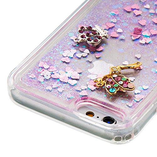 MOONCASE iPhone 6S Hülle, Bling Glitzer [Lips] Muster Strass Flüssiger Schutzhülle für iPhone 6 / 6S (4.7 inch) Weiche Silikon Soft Gel TPU Case Back Cover Silber 02 Rosa 03