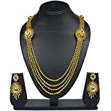 VK Jewels Four Strings Kundan Beaded Gol...