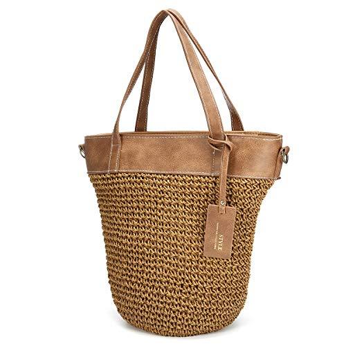 JOSEKO Sommer Handtaschen Frauen Weben Eimer Tasche Outdoor Casual Crossbody Tasche Braun ()
