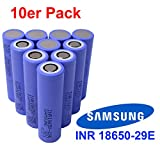 10x Samsung INR18650-29E Akku mit 2900mAh 3.7V. Das Kraftpaket ideal für e-Bike, e-Zigaretten, RC-Modellbau Batterien und Powertool, Menge: 10 Stück