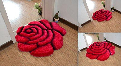 70 x 70cm großer, weicher Teppich in Form einer Rose in 3D-Optik, für das Schlafzimmer rot -