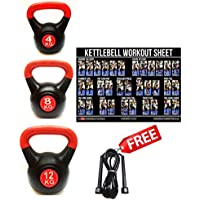 FXR SPORTS 24KG KETTLEBELLS GYM STRENGTH WEIGHTS CARDIO VINYL KETTLEBELL SET