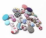 raylinedo® 30Stück sortiert Muster und Größe Baumwolle satinbezogenen Knöpfen 2Löcher Craft Nähen Knopf