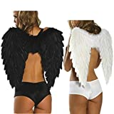 MARRYME Halloween Costume Aile d'Ange Plume Déguisement Adulte Femme Angle Wings Grande Plume Décoration (Blanc)