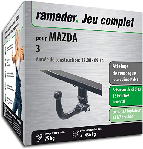 Rameder Attelage rotule démontable pour Mazda 3 + Faisceau 13 Broches (160408-08036-1-FR)