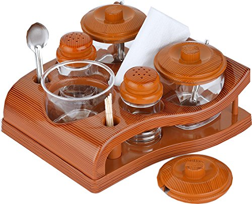 Lomoza Plastic Salt and Pepper Stand with Tissue Napkin Holder Containing 3 Jars for Pickles Ketchup Chutney Toothpick Holder, 1 Quart (Multicolour)