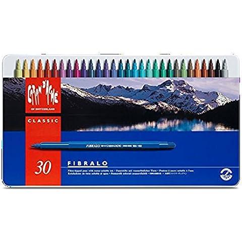 Caran D'ache Fibralo - Juego de rotuladores de color (30 unidades, caja metálica)
