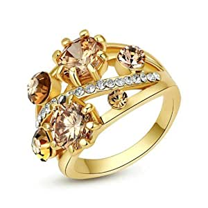 """Yoursfs """"Starry Starry Night"""" Style Design Citrine Gold Blossom Cocktail Ring 18K Gold Plated Band Topaz Stone Jewellery for Woman(K)"""