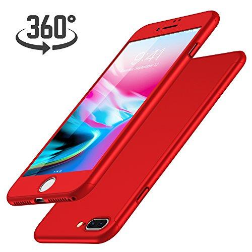 Funda iPhone 7 Plus + Protector de Pantalla de Vidrio Templado, Luckydeer Carcasa iPhone 7 Plus 360 Grados Ultra-Delgado Anti-Arañazos iPhone 7 Plus Funda Roja - Rojo (5.5 pulgadas)