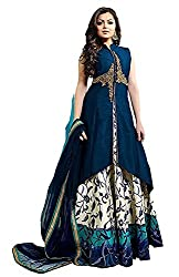 Texstile Blue colour silk gowns for women party wear(DM_Dharsti_dhami_Blue)