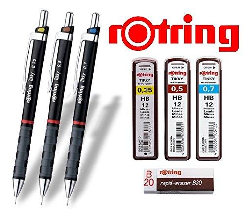 rOtring Tikky 3er Set mit Colourcode 0,35 / 0,5 / 0,7 mm (inkl. 3 Dosen Ersatzminen HB + Radierer B20)