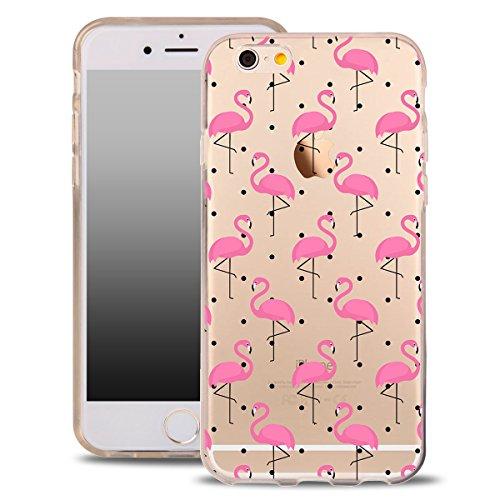 Für iPhone 8 Hülle Silikon von OOH!COLOR® | Schutzhülle Motiv ROZ006 weiß elegant Schmetterling Tasche elastische Handyhülle Transparent Design Case Cover Slim Etui AOT040 Flamingos