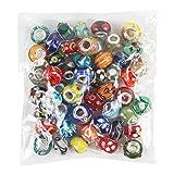 Romote 50 Piã¨Ces Lot en Murano Mix Europã©Enne Beads- Compatible la Plupart des Bracelets Charme